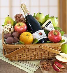 Cesta de frutas con botella Alonso