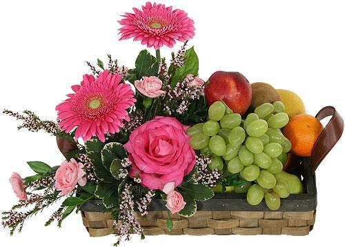 Cesta de flores y frutas Ana
