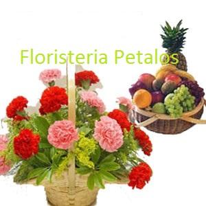 Cesta de frutas y cesta de flores Leoneda