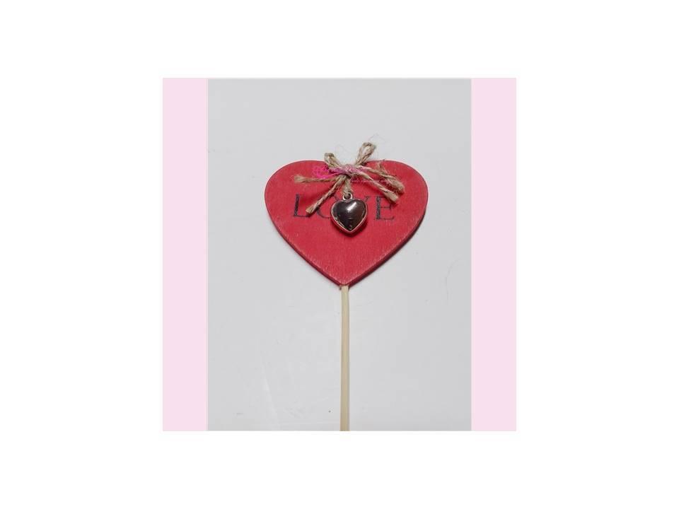Pick corazón plateado 50 cm.