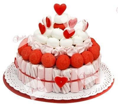 Tarta de gominolas romántica
