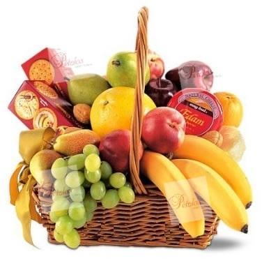 Cesta de frutas y queso Kirian