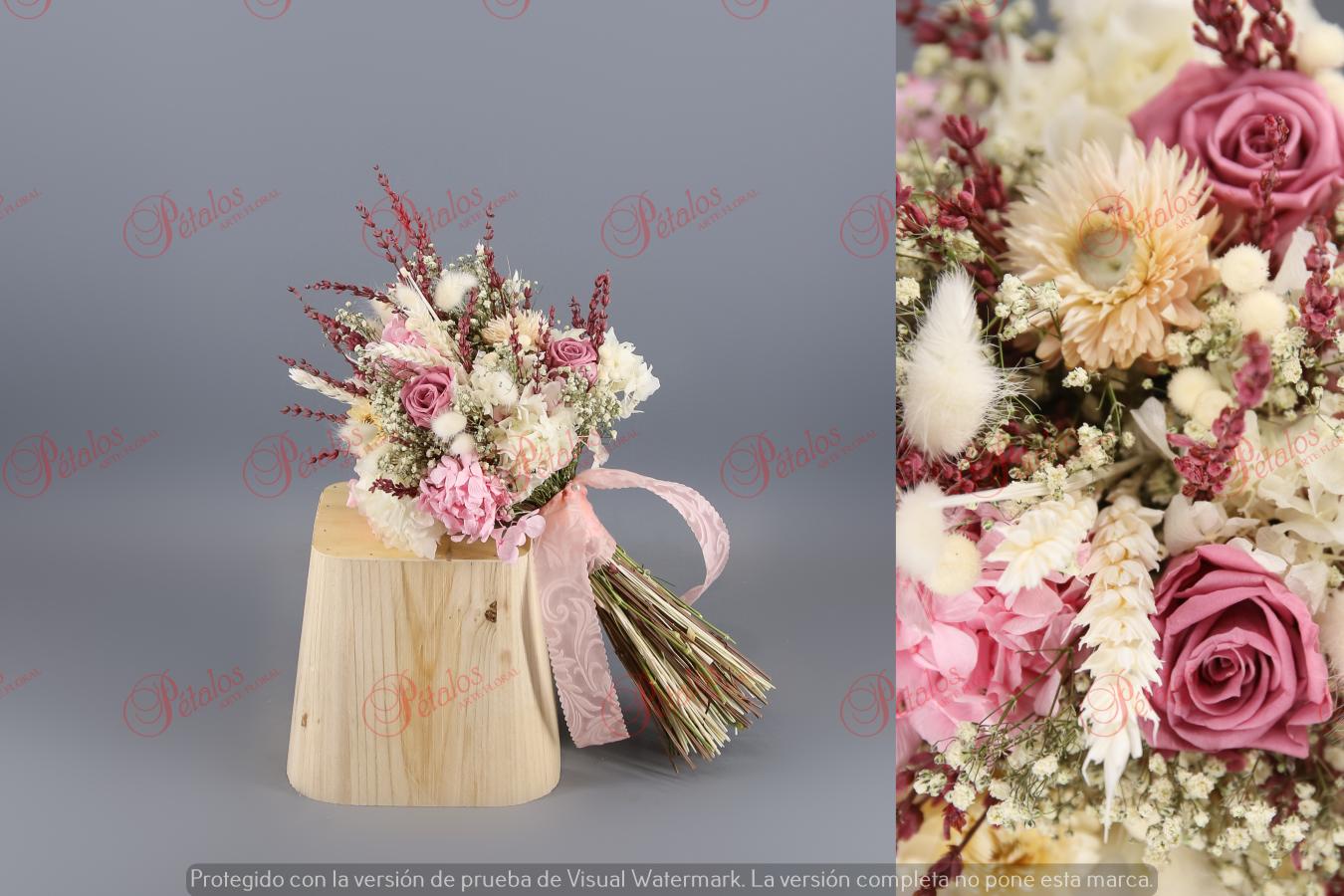 Ramo de novia seco / preservado Rosa clara