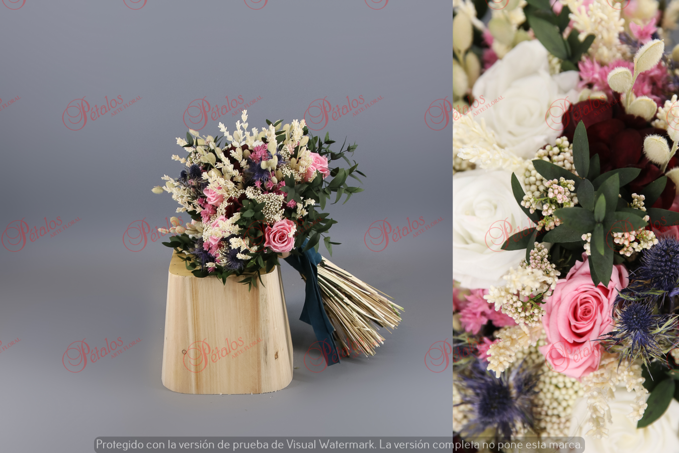 Ramo de novia seco / preservado Rosa crema